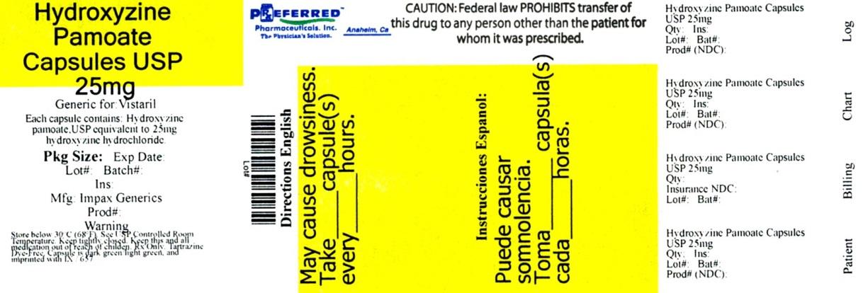 \Hydroxyzine Pamoate Capsules USP 25mg