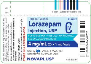 Lorazepam Injection, USP CIV 4 mg/mL 25 x 1 mL Vials