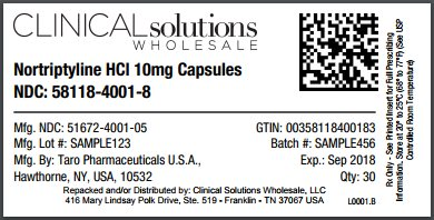 Nortriptyline HCl 10mg capsule 30 count blister card