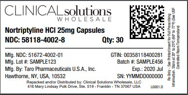 Nortriptyline HCl 25mg capsules 30 count blister card