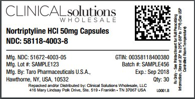 Nortriptyline HCl 50mg capsule 30 count blister card