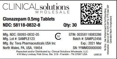 Clonazepam 0.5mg Tablets 30 count blister card