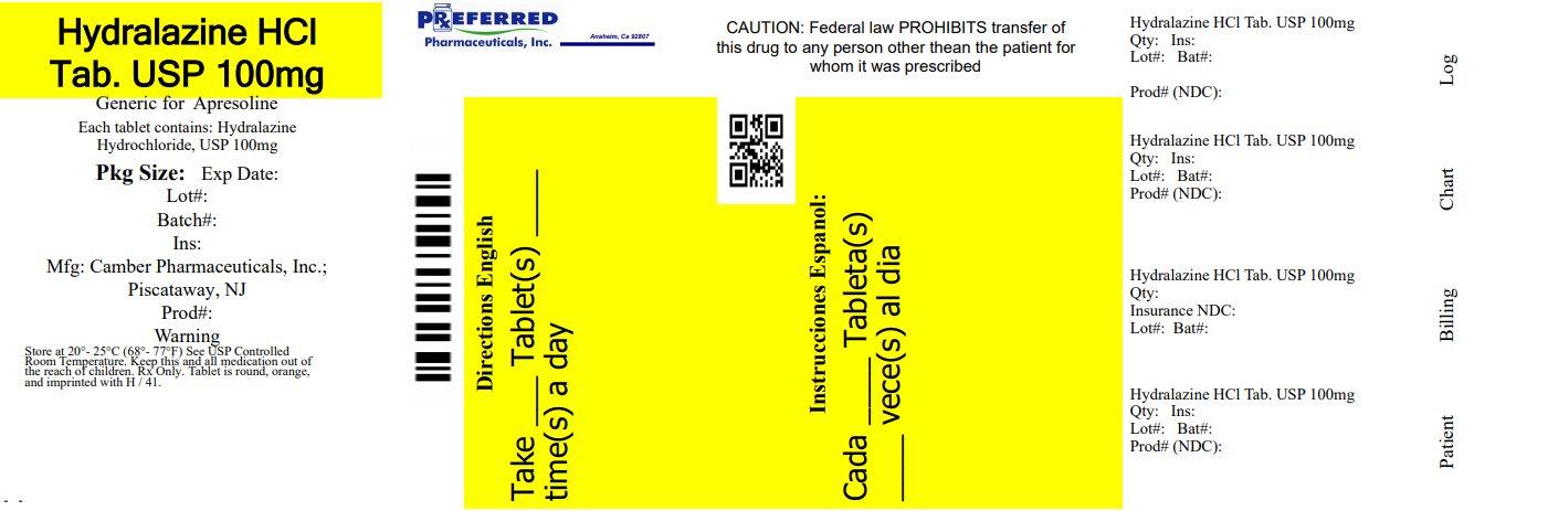 Hydralazine HCl Tab USP 100mg