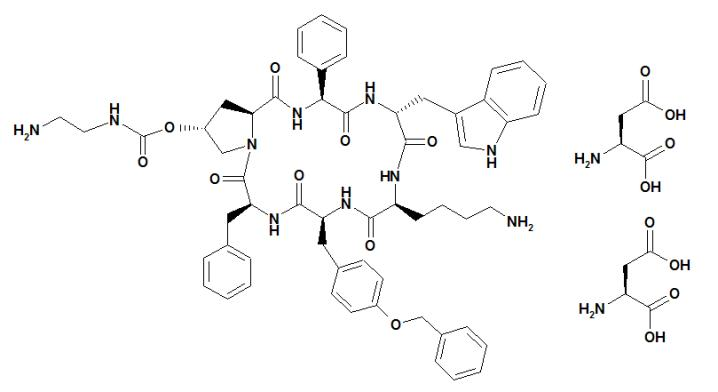 The structural formula of pasireotide diaspartate.