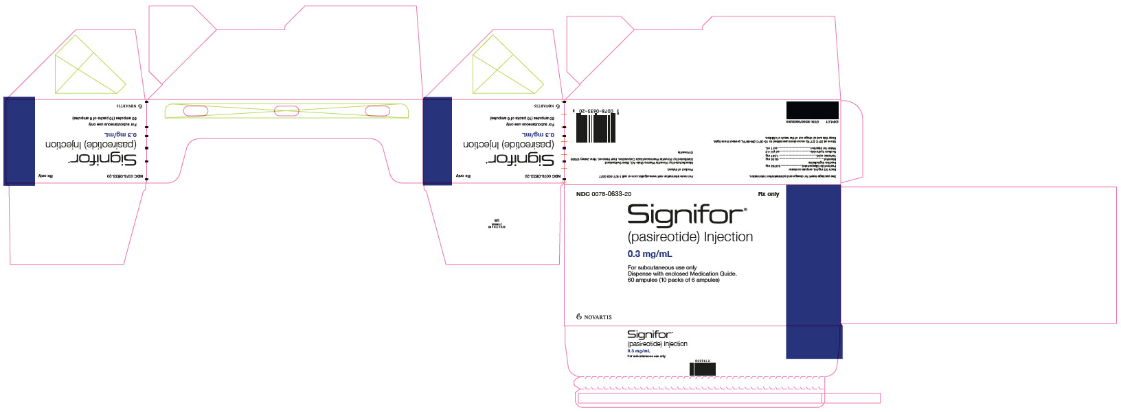 Package Label – 0.3 mg/mL Rx OnlyNDC: <a href=/NDC/0078-0633-20>0078-0633-20</a> Signifor®  (pasireotide) Injection 0.3 mg/mL For subcutaneous use only Dispense with enclosed Medication Guide. 60 ampules (10 packs of 6 ampules)