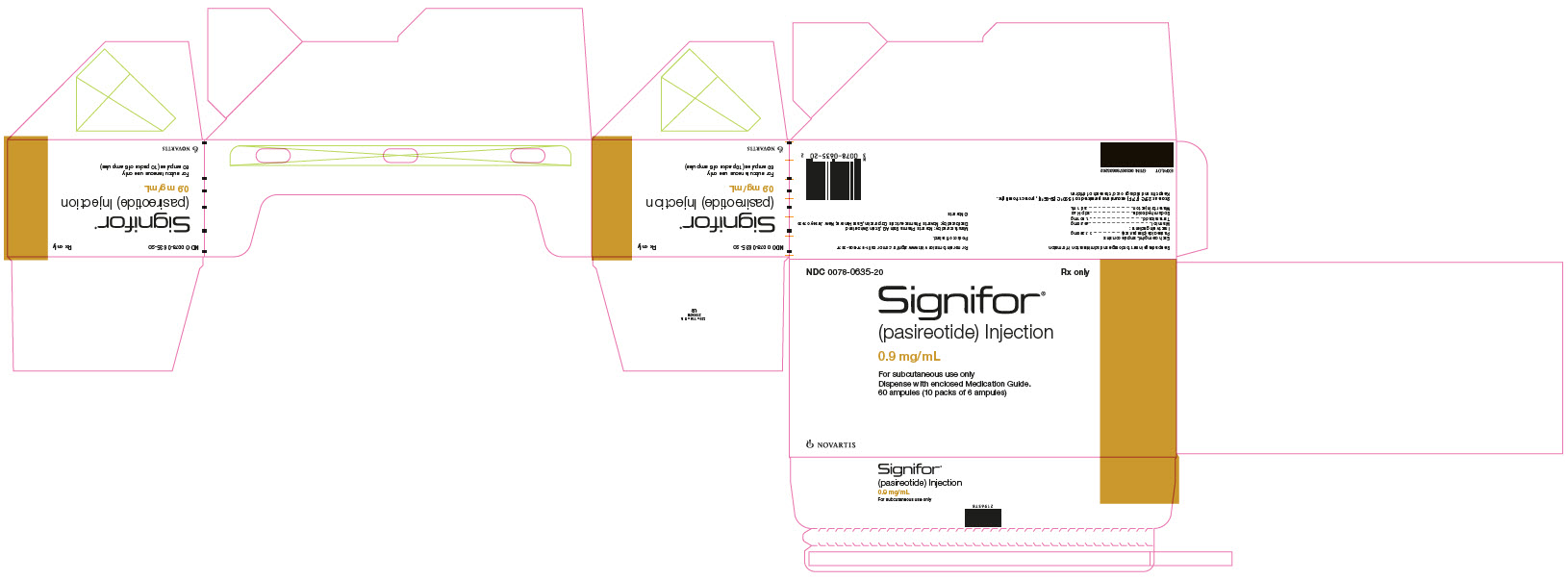 Package Label – 0.9 mg/mL Rx OnlyNDC: <a href=/NDC/0078-0635-20>0078-0635-20</a> Signifor®  (pasireotide) Injection 0.9 mg/mL For subcutaneous use only Dispense with enclosed Medication Guide. 60 ampules (10 packs of 6 ampules)