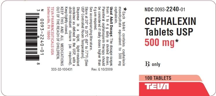 Cephalexin 500 mg 100 Label