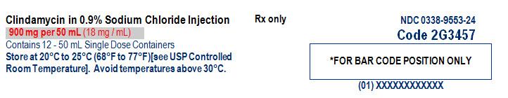 Clindamycin in Sodium Chloride Representative Carton Label NDC: <a href=/NDC/0338-9553-24>0338-9553-24</a> 2 of 3