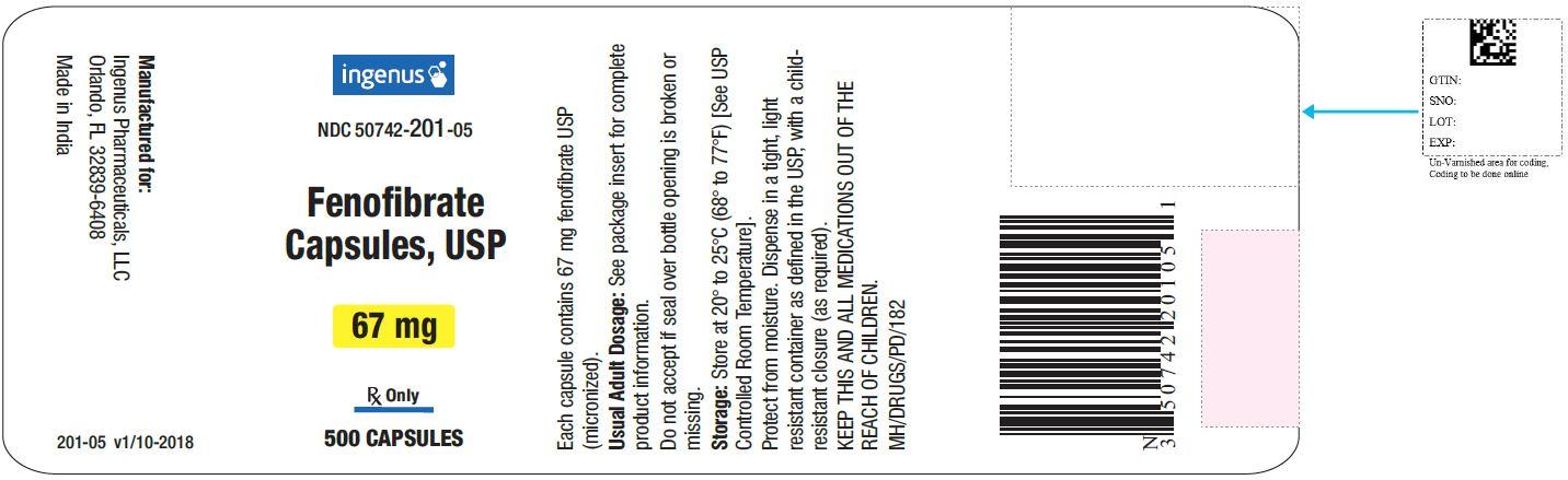 Fenofibrate Capsules USP, 67 mg - 500 caps