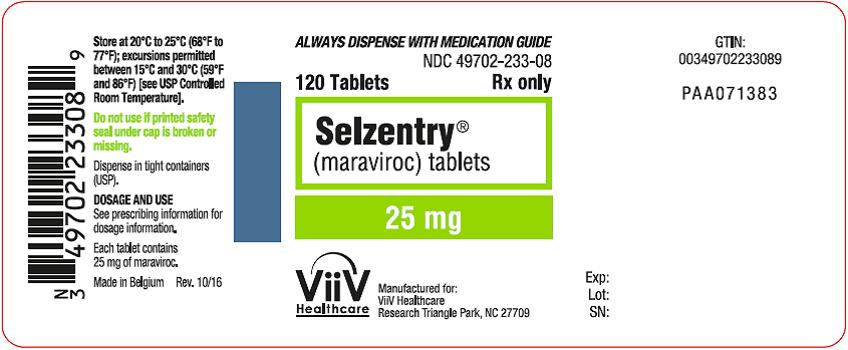 Selzentry 25 mg 120 count label