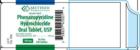 PRINCIPAL DISPLAY PANEL Phenazopyridine Hydrochloride Oral Tablet, USP 100 mg Rx Only 100 Tablets