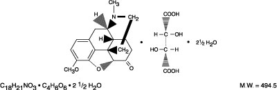 This is an image of the structural formula of Hydrocodone bitartrate.