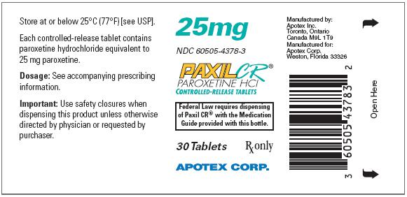 PaxilCR25mg30counttabletlabel
