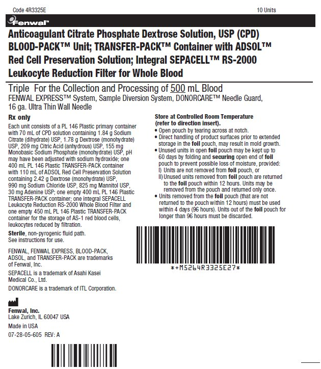 Anticoagulant Citrate Phosphate Dextrose Solution, USP (CPD) bBLOOD-PACK™ Unit; TRANSFER-PACK™ Container with ADSOL™ Red Cell Preservation Solution; Integral SEPACELL™ RS-2000 Leukocyte Reduction Filter for Whole Blood label