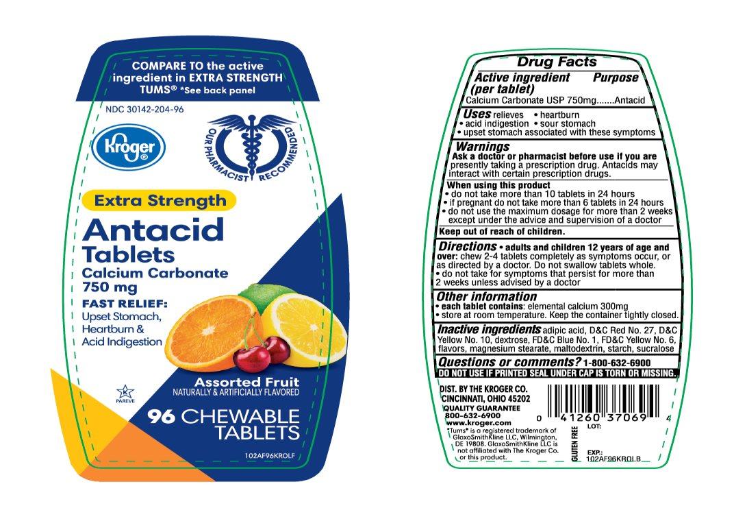 Kroger Antacid Extra Strength 96 Chewable Tablets