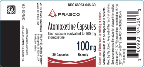 PACKAGE LABEL - Atomoxetine 100 mg bottle of 30