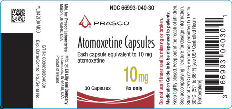 PACKAGE LABEL - Atomoxetine 10 mg bottle of 30