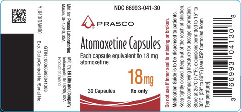 PACKAGE LABEL - Atomoxetine 18 mg bottle of 30