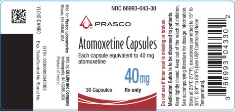 PACKAGE LABEL - Atomoxetine 40 mg bottle of 30