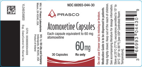 PACKAGE LABEL - Atomoxetine 60 mg bottle of 30