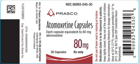 PACKAGE LABEL - Atomoxetine 80 mg bottle of 30
