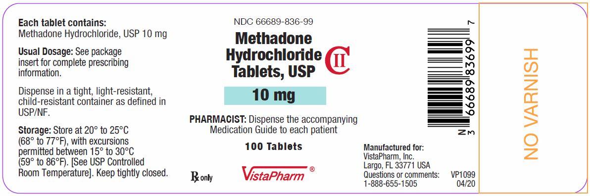 Methadone Tablets 10 mg Bottle Label 04-20