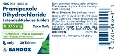 Pramipexole Dihydrochloride 0.375 mg Label