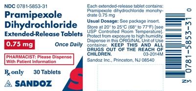 Pramipexole Dihydrochloride 0.75 mg Label