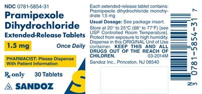 Pramipexole Dihydrochloride 1.5 mg Label