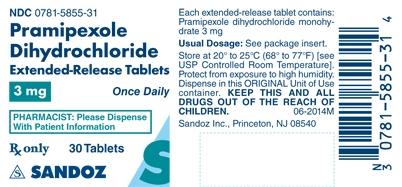 Pramipexole Dihydrochloride 3 mg Label