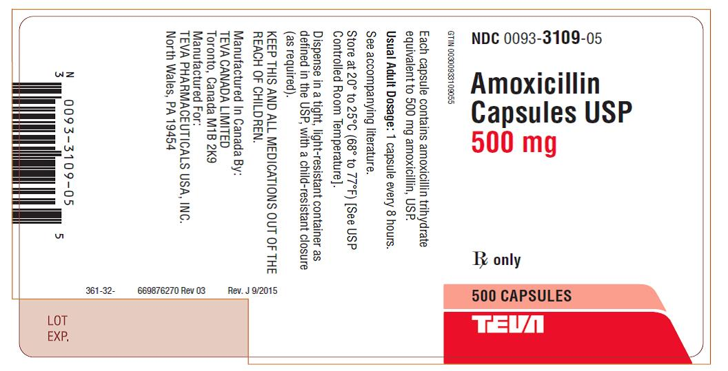 Amoxicillin Capsules USP 500 mg 500s Label