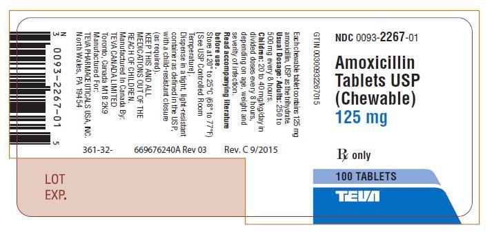 Amoxicillin Tablets USP (Chewable) 125 mg 100s Label