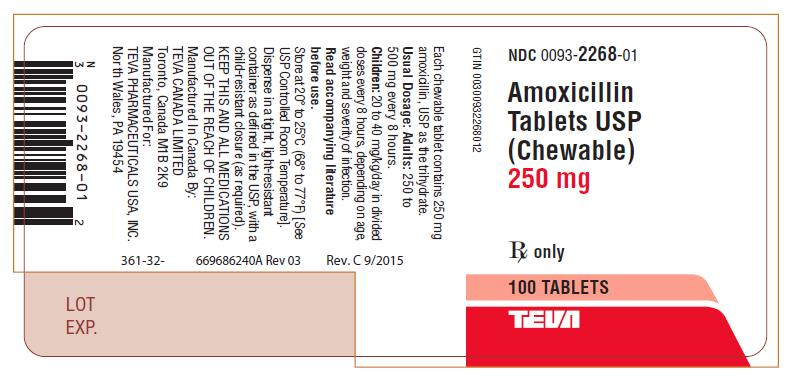 Amoxicillin Tablets USP (Chewable) 250 mg 100s