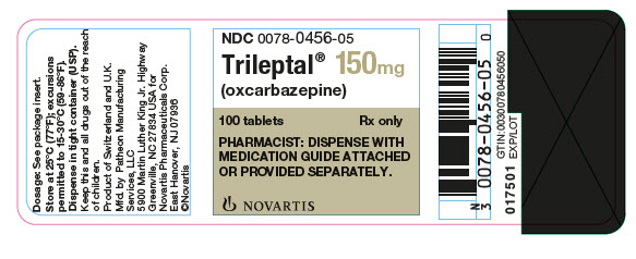 PRINCIPAL DISPLAY PANEL Package Label – 150 mg Rx OnlyNDC: <a href=/NDC/0078-0456-05>0078-0456-05</a> Trileptal® (oxcarbazepine) 100 tablets PHARMACIST: DISPENSE WITH MEDICATION  GUIDE ATTACHED OR PROVIDED SEPARATELY.