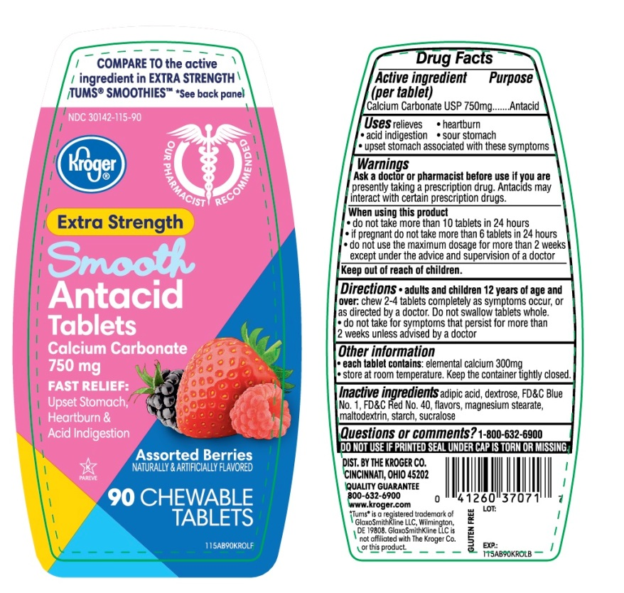 Kroger Extra Strength Smooth Antacid 90 Chewable Tablets