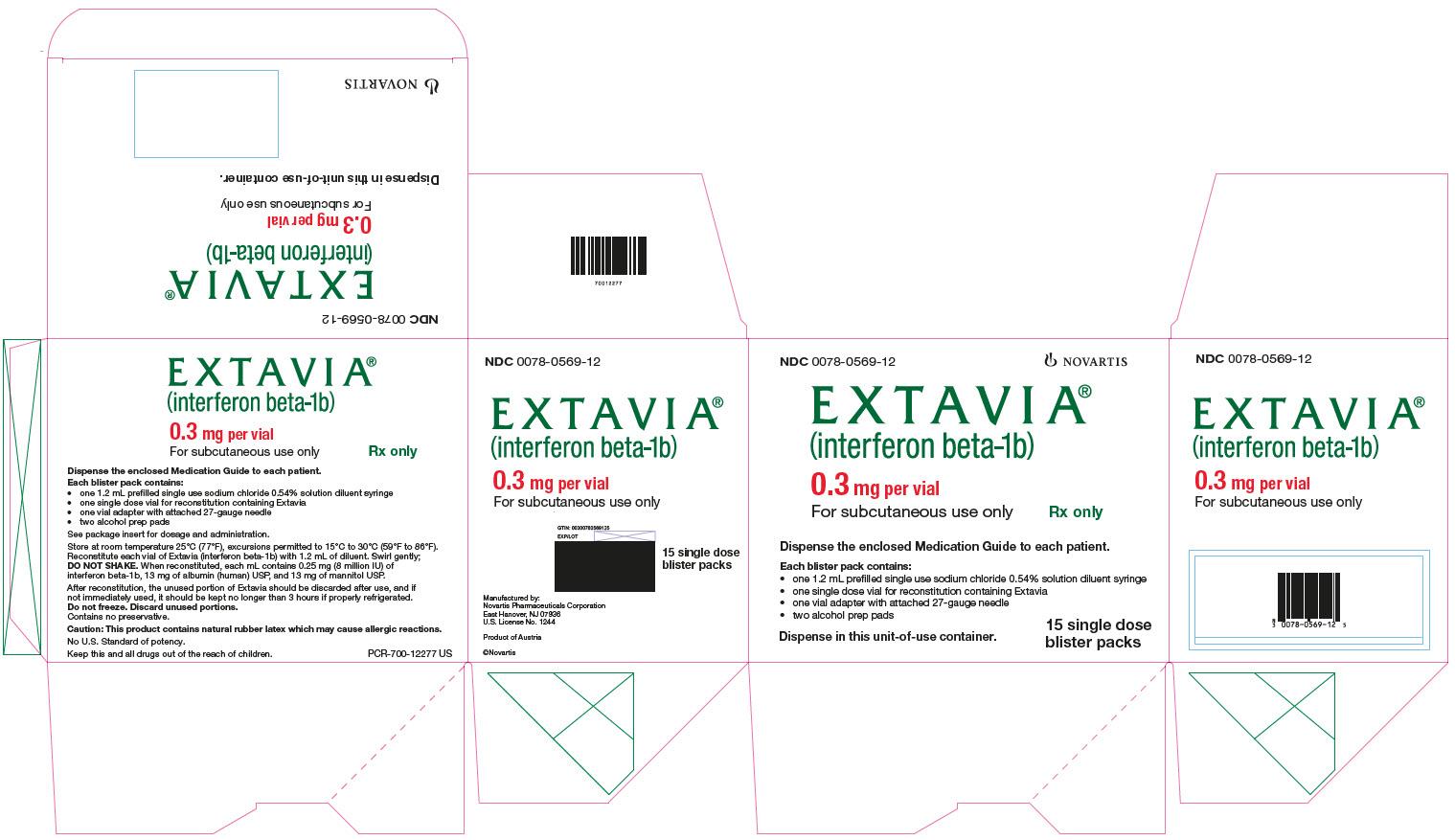 PRINCIPAL DISPLAY PANEL EXTAVIA (interferon beta-1b) 0.3 mg per vial For subcutaneous use only