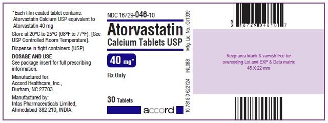 Atorvastatin Calcium Tablets – 40 mg 30 Bottle Label