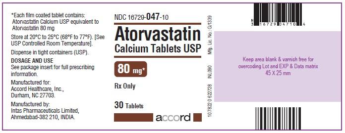 Atorvastatin Calcium Tablets – 80 mg 30 Bottle Carton