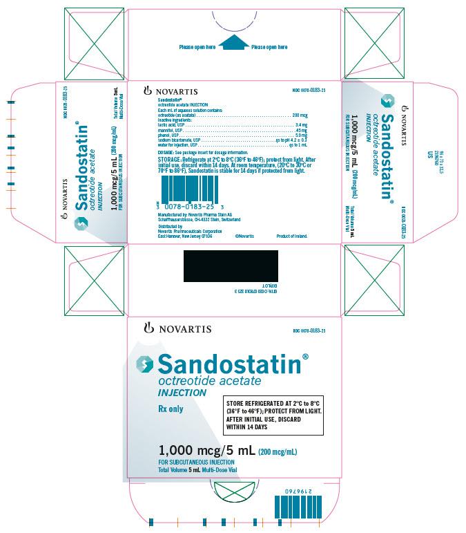 PRINCIPAL DISPLAY PANEL Package Label – 200 mcg/mL Rx OnlyNDC 0078 0183 25 Sandostatin  octreotide acetate Injection Total Volume 5 mL Multi-Dose Vial