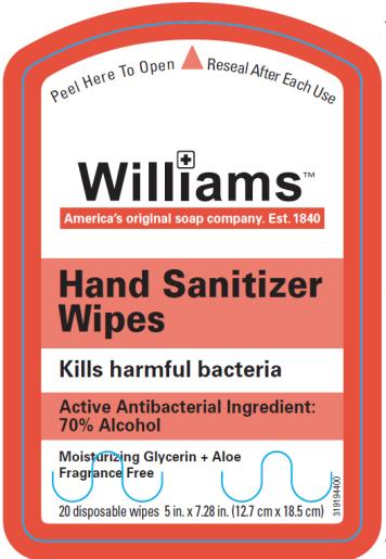 Williams Hand Sanitizer Wipes Kills harmful bacteria Active Antibacterial Ingredient: 70% Alcohol Moisturizing Glycerin + Aloe Fragrance Free 20 disposable wipes 5 in. x 7.28 in. (12.7 cm x 18.5 cm)