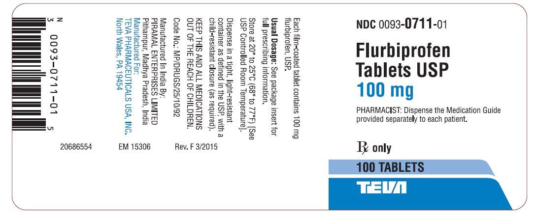 Flurbiprofen Tablets USP 100 mg 100s Label