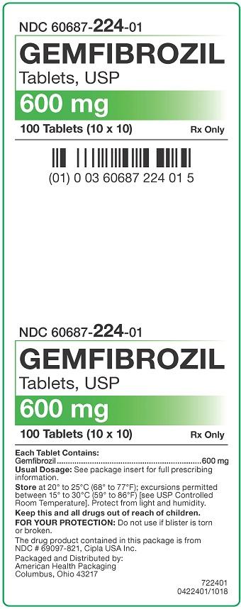 600 mg Gemfibrozil Tablets Carton