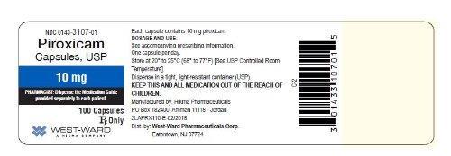 NDC: <a href=/NDC/0143-3107-01>0143-3107-01</a> Piroxicam Capsules, USP 10 mg 100 Capsules Rx Only