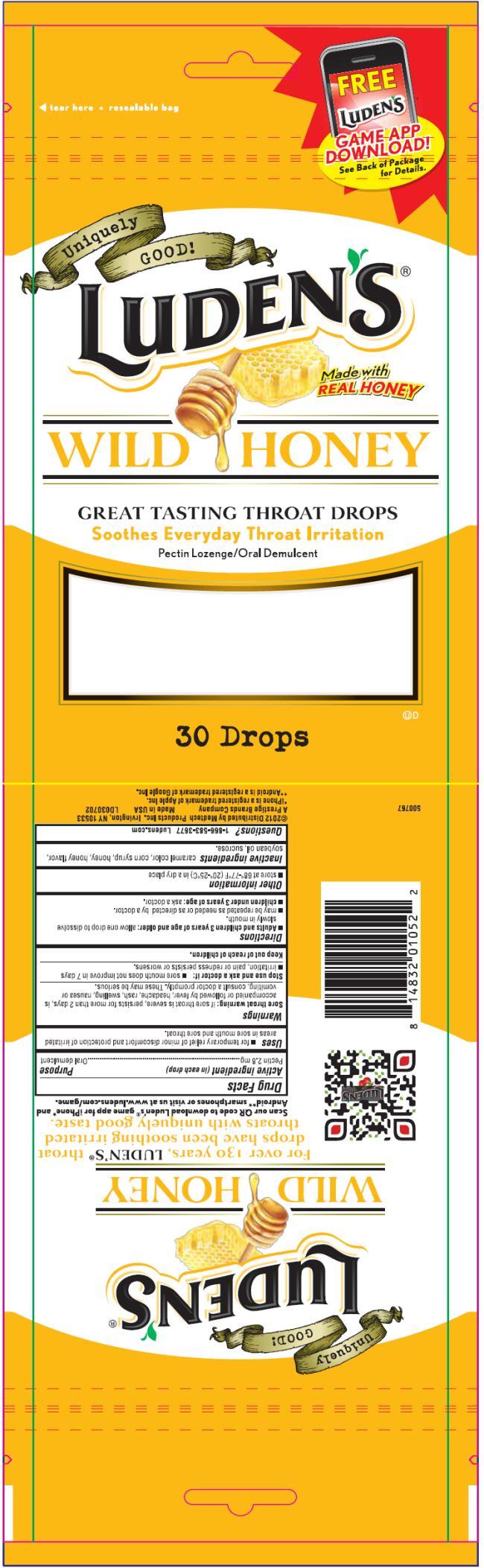 PRINCIPAL DISPLAY PANEL Luden's Wild Honey Throat Drops 30 Drops