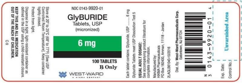 NDC: <a href=/NDC/0143-9920-01>0143-9920-01</a> GlyBURIDE Tablets, USP (micronized) 6 mg 100 TABLETS Rx Only