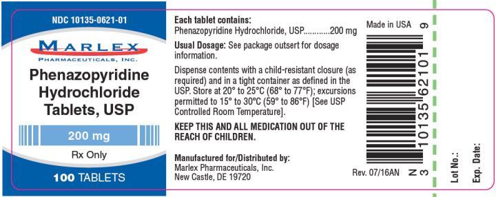 NDC: <a href=/NDC/10135-0621-0>10135-0621-0</a>1 Phenazopyridine Hydrochloride Tablets, USP 200 mg Rx Only 100 TABLETS