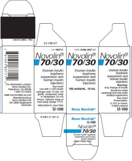 Novolin 70/30 10 mL vial carton.