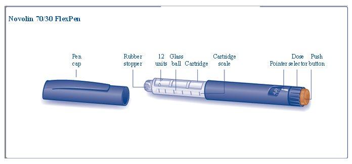 Novolin 70/30 FlexPen components