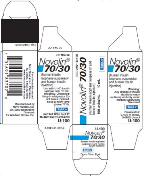 Novolin 70/30 10 mL vial carton - ReliOn