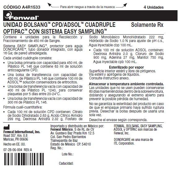 UNIDAD BOLSANG™ CPD/ADSOL™ CUADRUPLE OPTIPAC™ CON SISTEMA EASY SAMPLING™ label